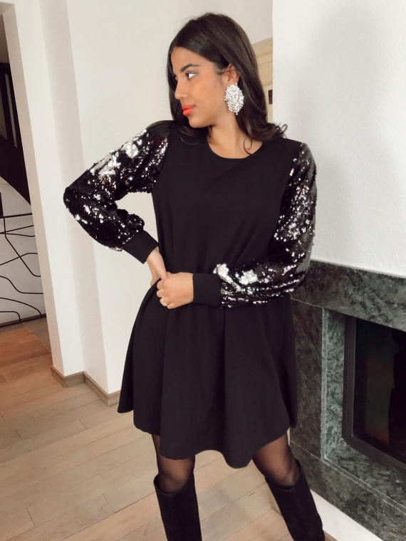 Robe manches sequins RAFIE
