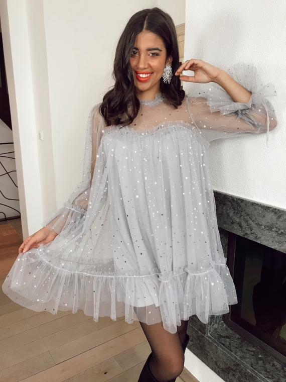 Robe tulle STARS grise