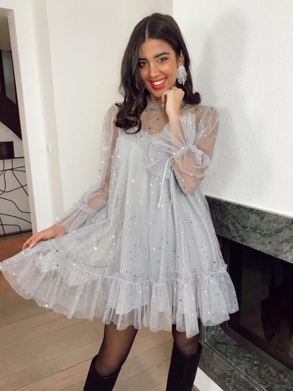Gray STARS tulle dress