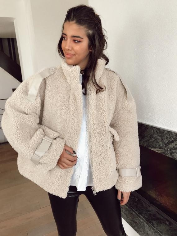 Veste teddy avec empiècements cuir THEA beige