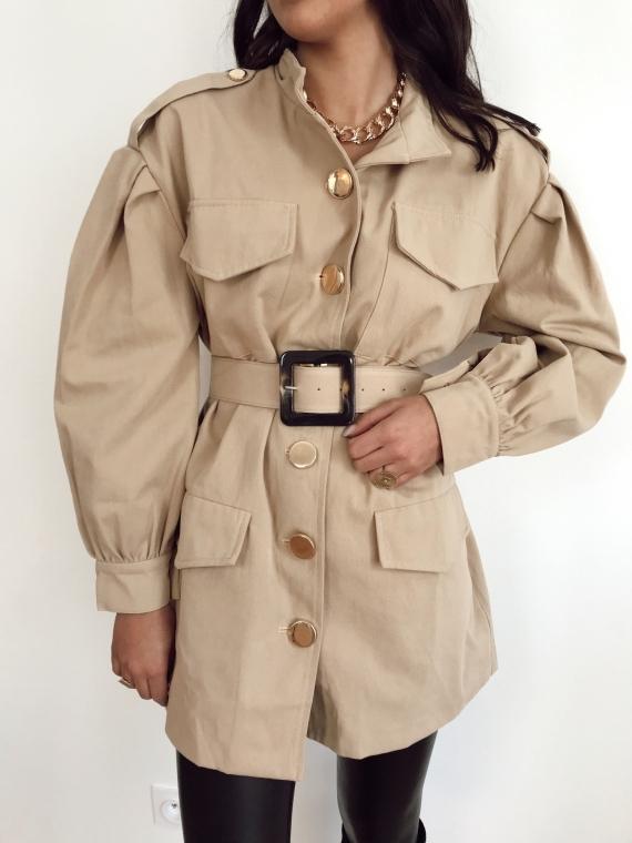 Veste ceinture boutons dorés ANILA beige