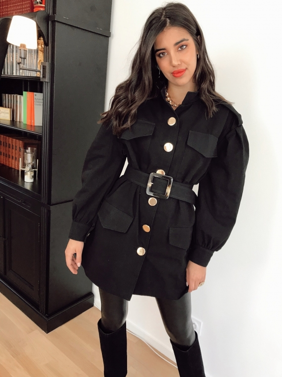 Black ANILA Belted Jacket