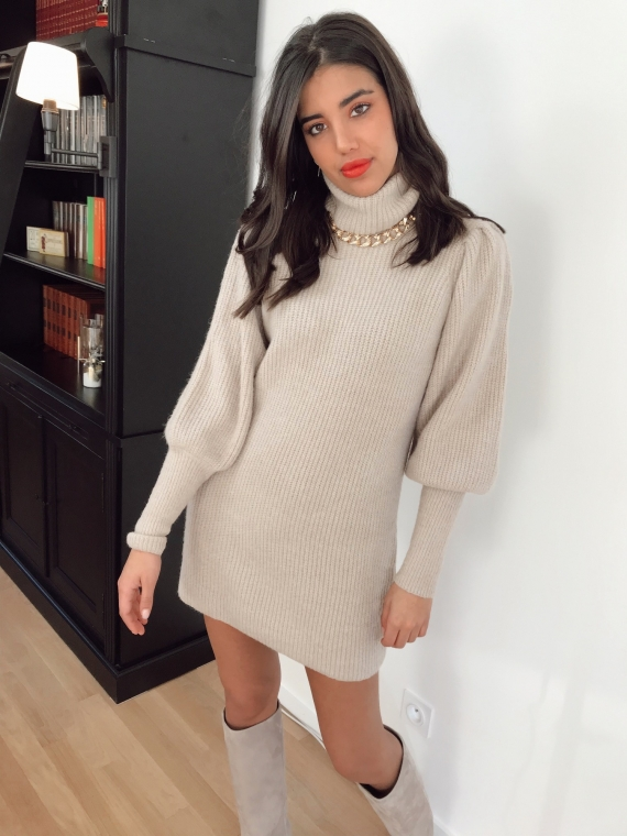 Robe pull LUDOVICA taupe