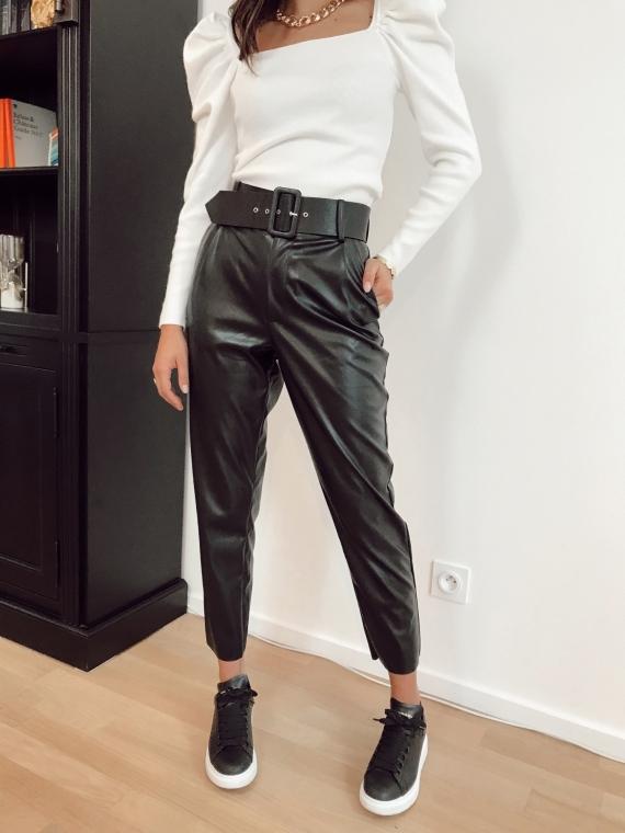Pantalon simili cuir ceinture PIERRO
