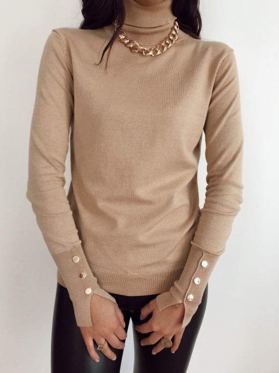 Pull boutons dorés MIKE camel