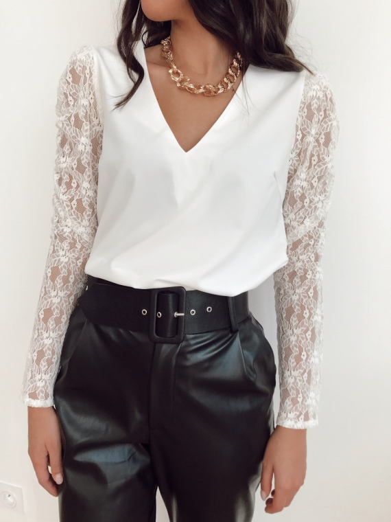 White FANOU lace blouse