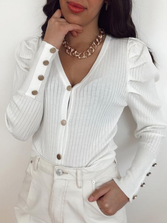 Gilet côtelé CLAUDIA blanc