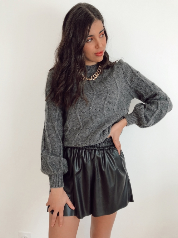 Pull reliefs MARIE gris