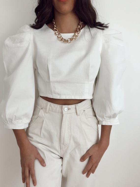 Top en jeans DIDO blanc