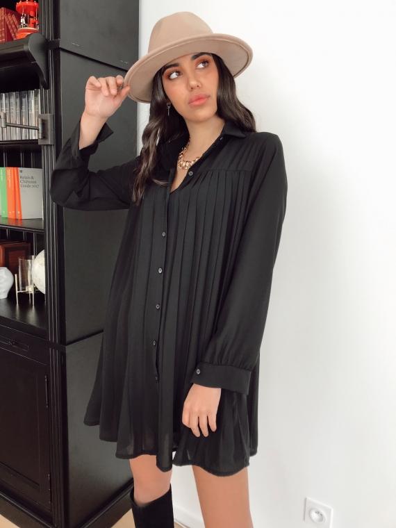 Robe plissée COLOMBE noire