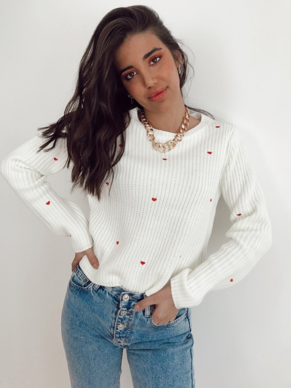 Pull HILO coeurs rouges