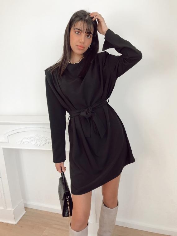 Robe drapée MAYA noire