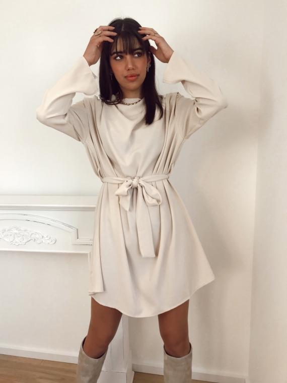 Robe drapée MAYA beige