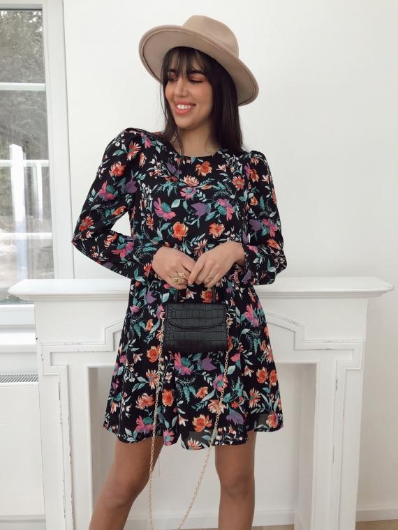 Black DONA flower dress