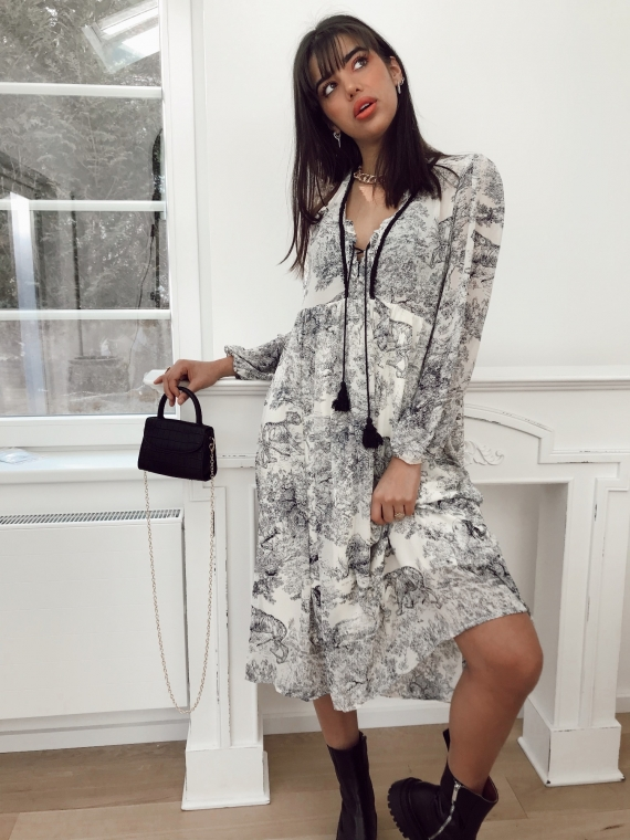 Dress CHELLY printed toile de jouy