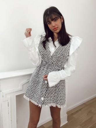 Robe chasuble en tweed JOLIE avec boutons