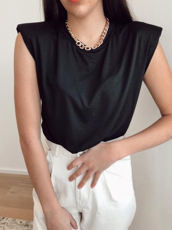 T-shirt à épaulettes ELLYN noir