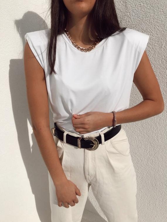 copy of T-shirt à épaulettes ELLYN noir