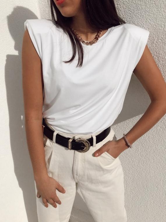 White ELLYN epaulette T-shirt