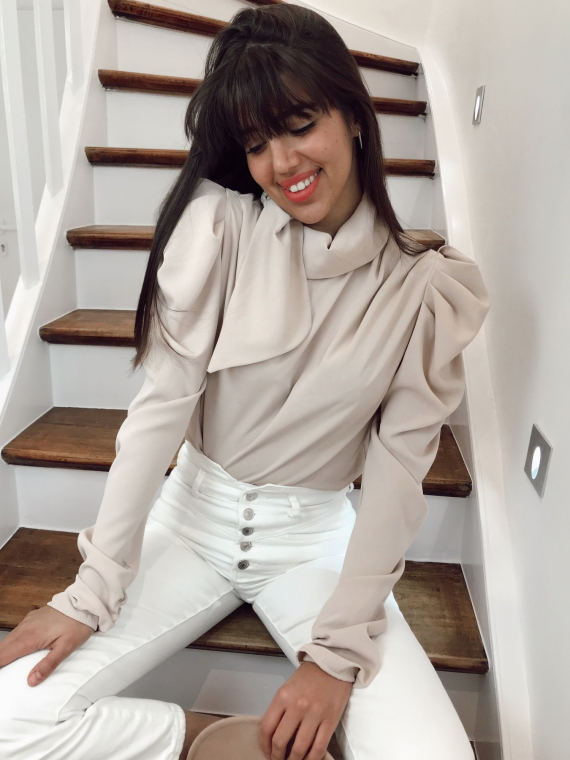 Beige PLUME knotted blouse