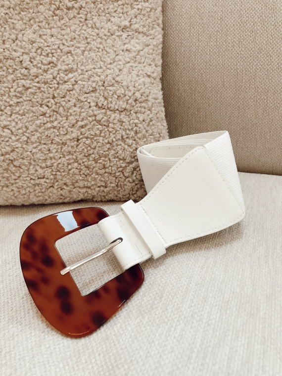 White ANOUK Elastic buckle belt