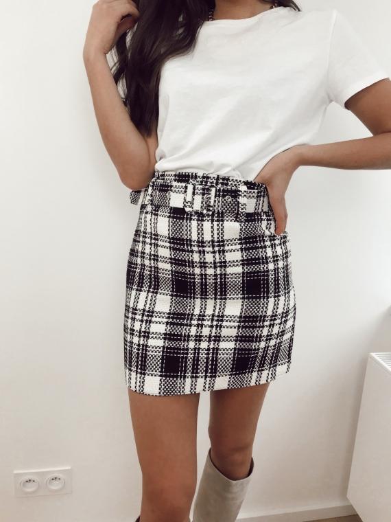 Black and white CALYPSO Tweed skirt