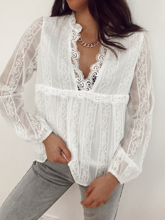 White GABRIEL Lace blouse