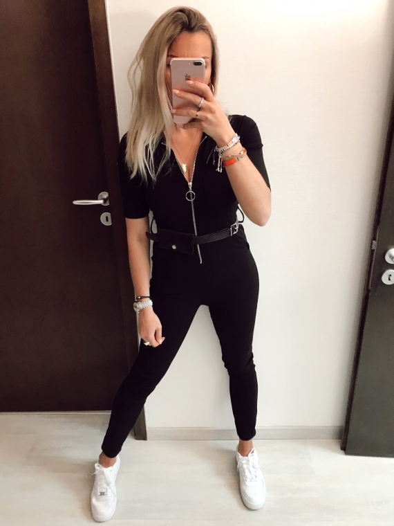 Black NADIA Belt Jumpsuit