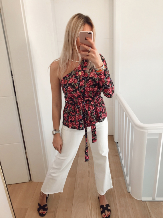 Asymmetrical LOVED floral top