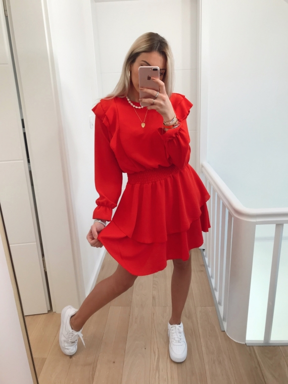 Robe volants TWICE rouge