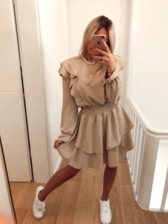 Robe volants TWICE beige