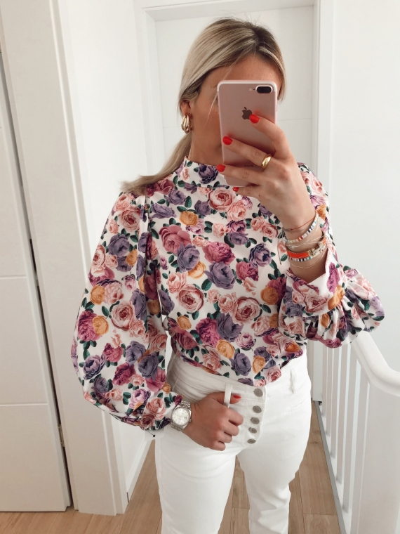 Blouse fleurie CHANCE blanche