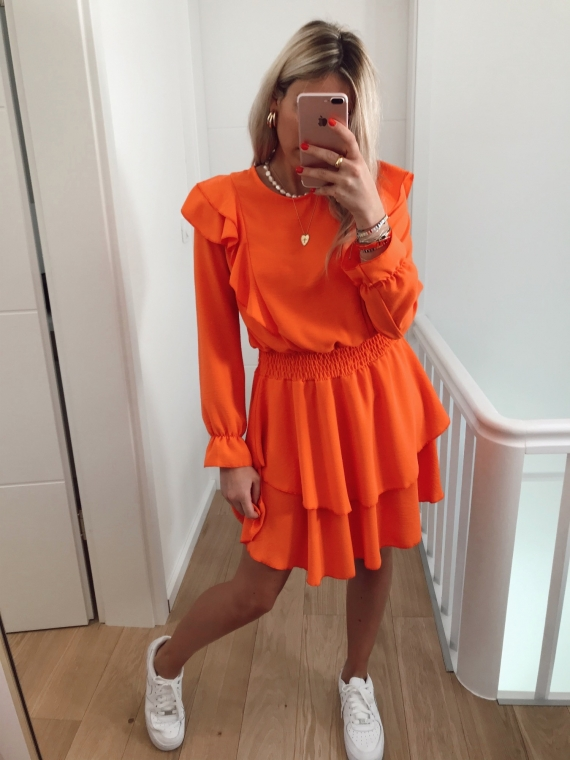 Robe volants TWICE orange
