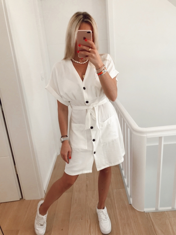 White CHARLIE fluid dress with pockets