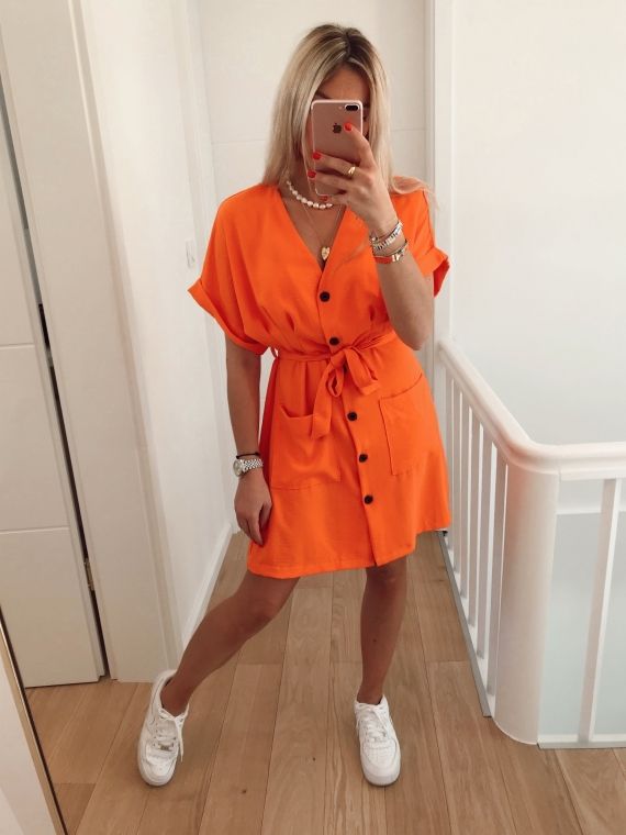 Robe fluide à poches CHARLIE orange
