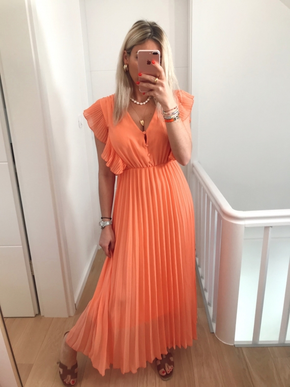 PRE ORDER Coral SUNSET Pleated Maxi Dress