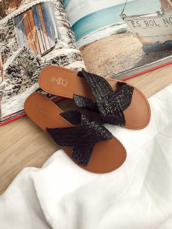 Sandales plates tréssées MILLER noires