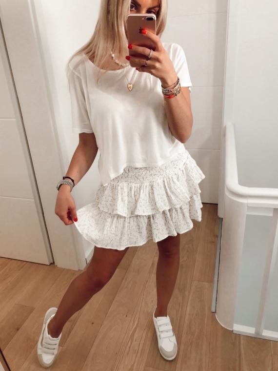 White DONATA ruffled skirt