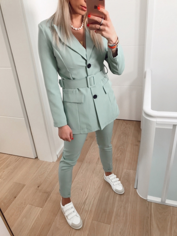 Ensemble blazer et pantalon ARMEL vert d'eau