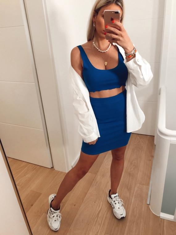 Ensemble crop top et jupe ESTEL bleu électrique