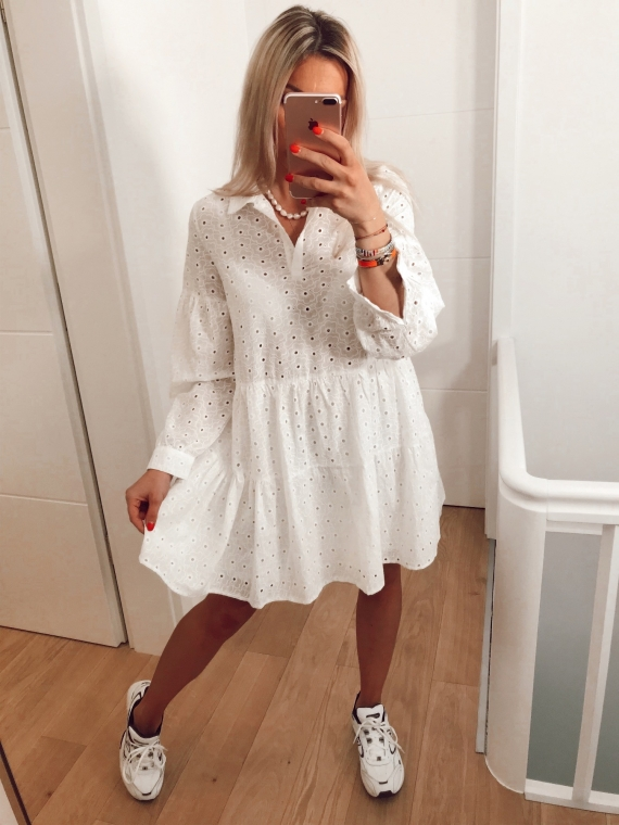 White Zadie embroidered dress