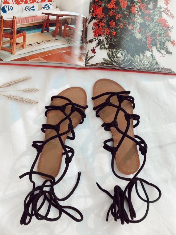 Sandales à nouer ARIEL noires