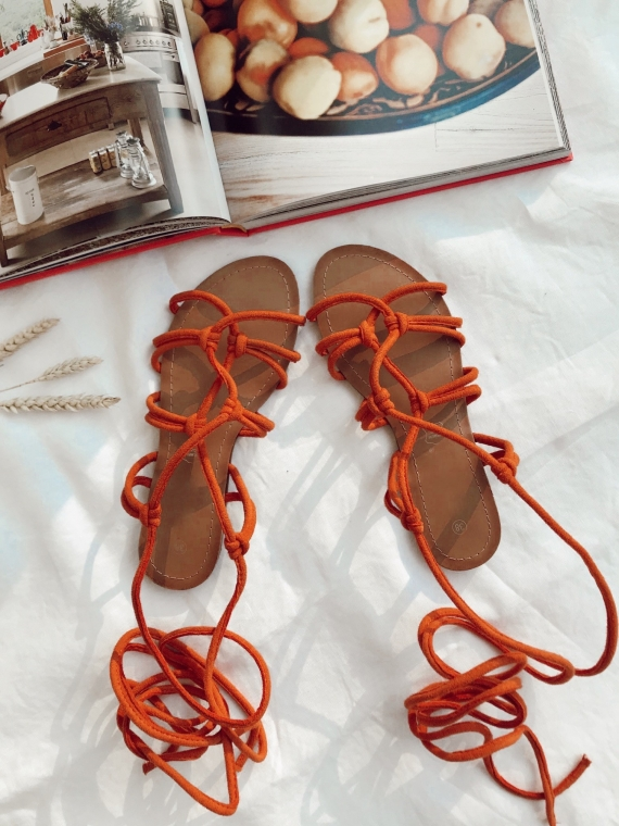 Orange ARIEL tie sandals