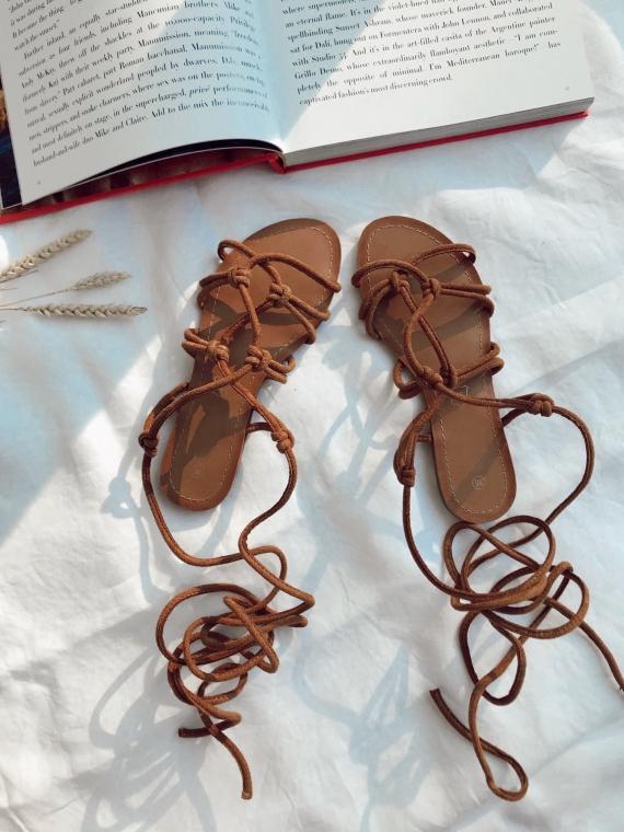 Sandales à nouer ARIEL camels