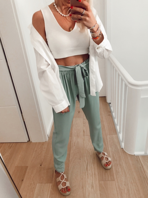 Pantalon fluide ORAN vert d'eau
