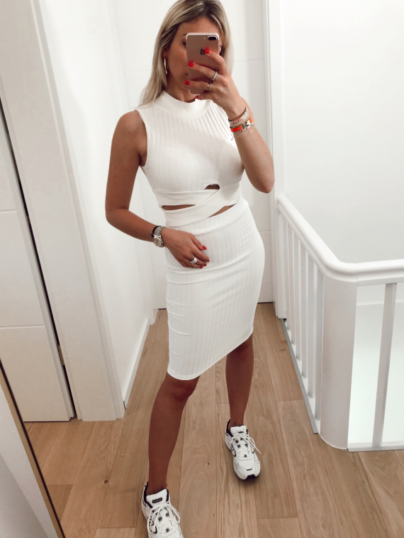 Ensemble top et jupe HAILEY blanc