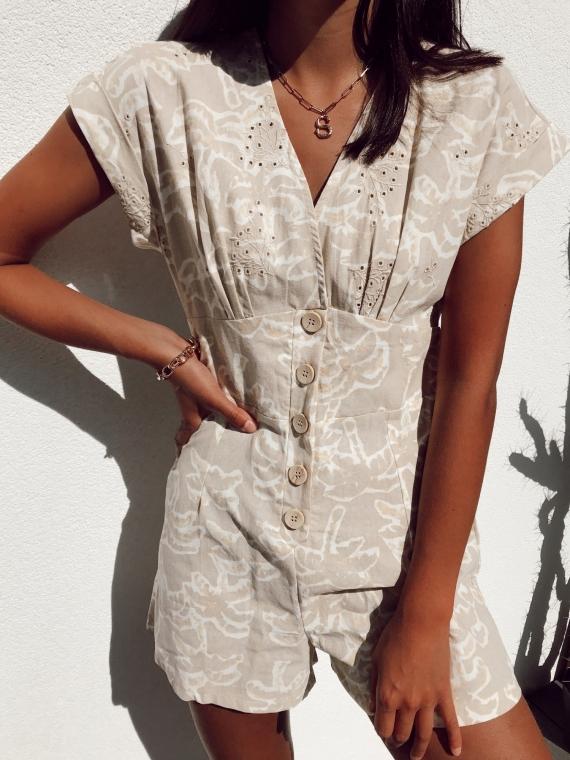 Combi-short palmiers VENUS beige