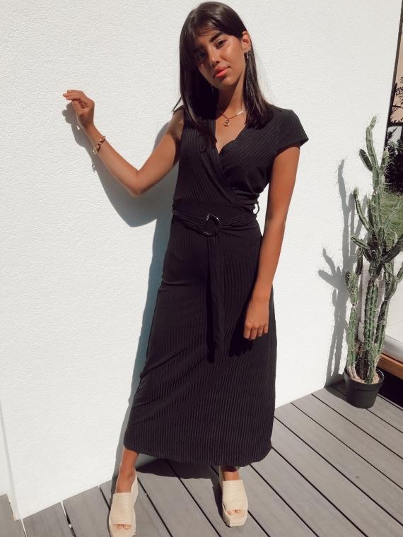Robe longue côtelée JAZZIE noire