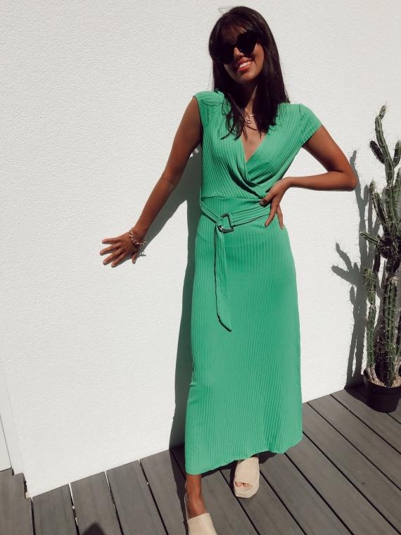 Robe longue côtelée JAZZIE verte