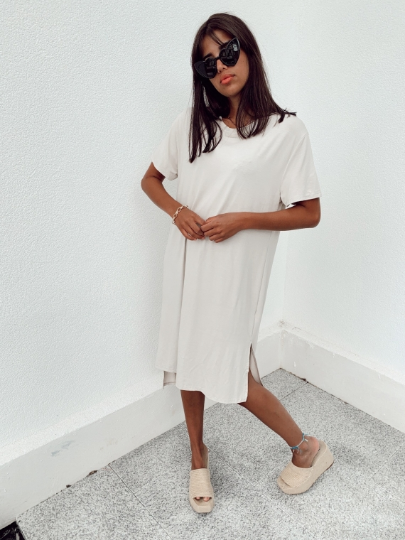 Robe longue t-shirt CHILL beige
